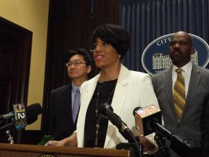 Baltimore Mayor Stephanie Rawlings-Blake says its important to address violence in the black community as well as police accountability. Critics question whether she is serious about both issues. (photo by P. Kenneth Burns/WYPR)